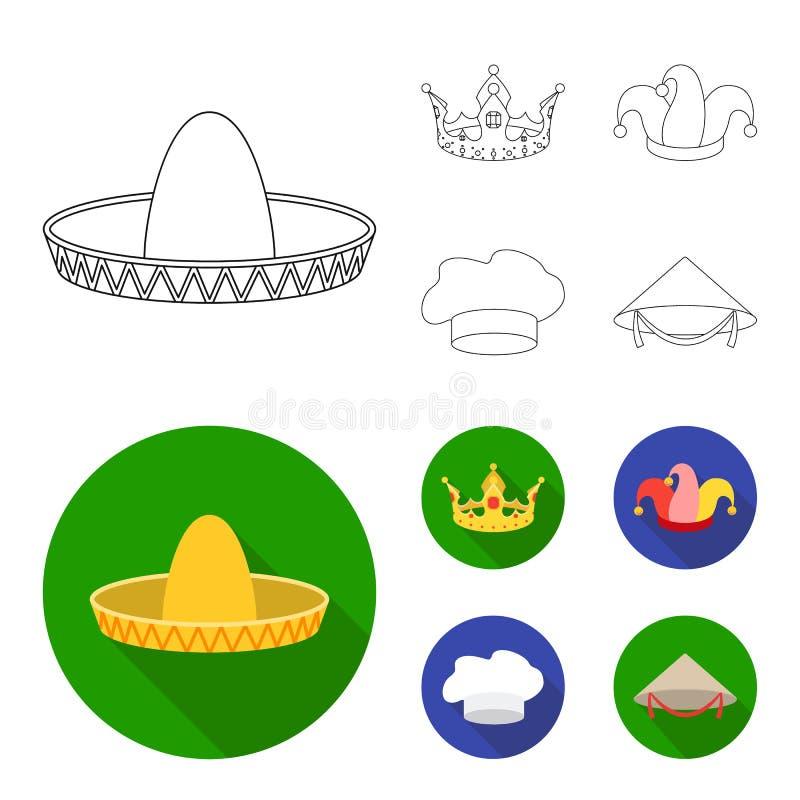 Koronuje, dowcipnisia ` s nakrętka, kucharz, rożek Kapelusz ustawiać inkasowe ikony w konturze, mieszkanie symbolu zapasu ilustra royalty ilustracja