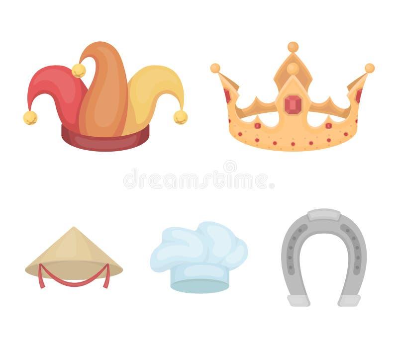 Koronuje, dowcipnisia ` s nakrętka, kucharz, rożek Kapelusz ustawiać inkasowe ikony w kreskówka stylu wektorowym symbolu zaopatru royalty ilustracja