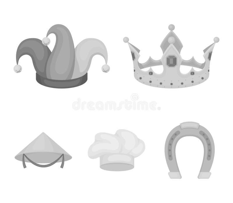 Koronuje, dowcipnisia ` s nakrętka, kucharz, rożek Kapelusz ustawiać inkasowe ikony w monochromu stylu wektorowym symbolu zaopatr royalty ilustracja
