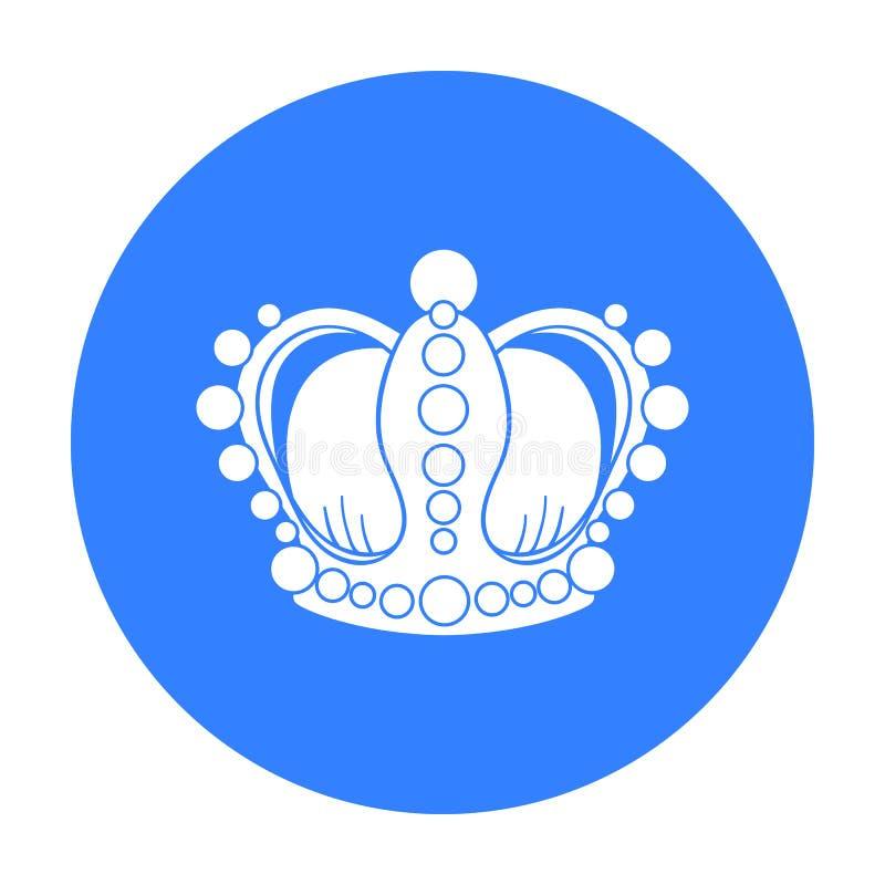 Koronuje ikonę w czerń stylu odizolowywającym na białym tle Muzealna symbolu zapasu wektoru ilustracja ilustracji