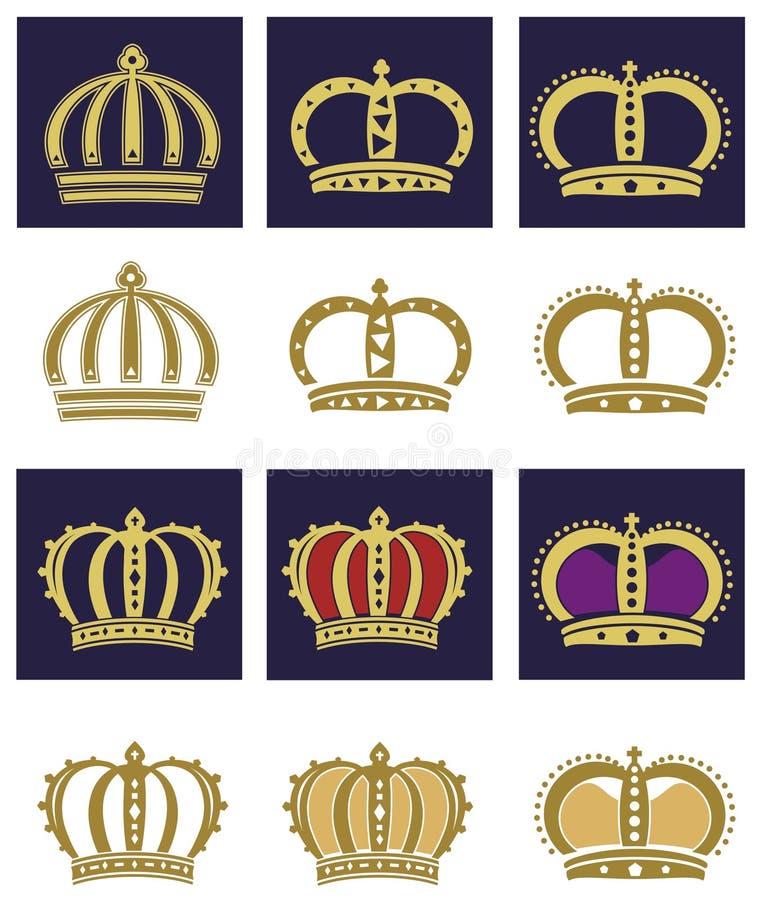 koronuje królewskiego set fotografia royalty free