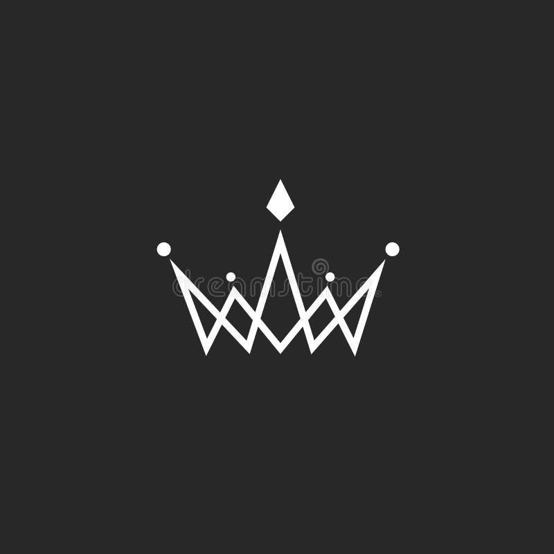 Koronuje logo monogram, mockup czarny i biały królewski symbol z klejnotami w skrzyżowanie cienkiej linii ilustracji