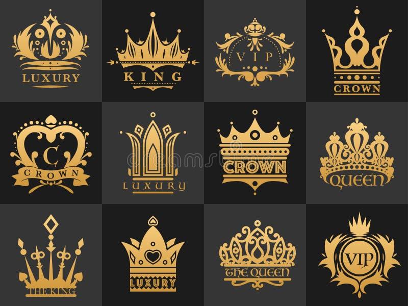 Koronuje rocznik premię złota logo odznaka heraldyczny emblemat luksusowa kingdomsign wektoru ilustracja ilustracja wektor