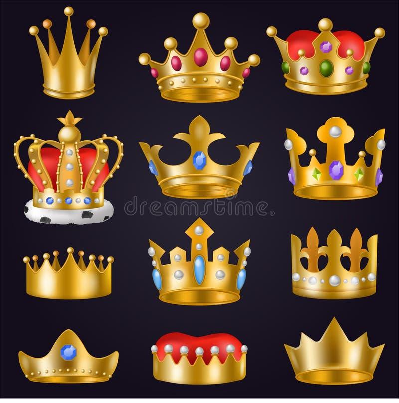 Koronuje wektorowego złotego królewskiego biżuteria symbol królewiątka princess i królowej ilustraci znak koronować książe władzy ilustracja wektor
