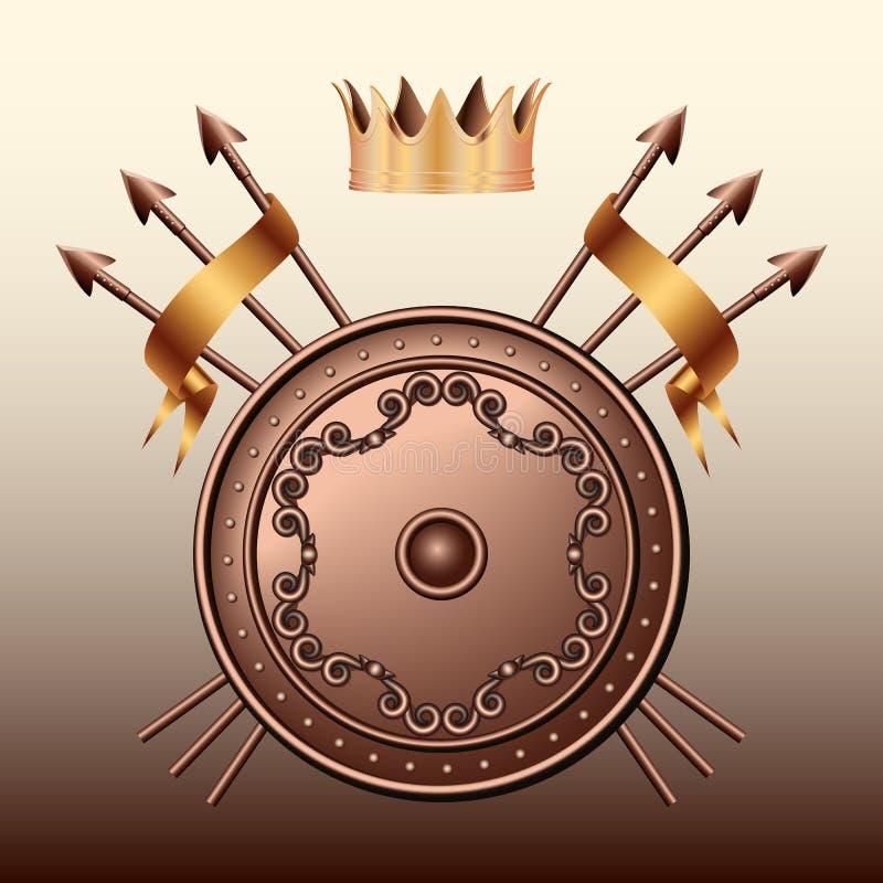Korony Brązu osłona i krzyżować dzidy. ilustracji