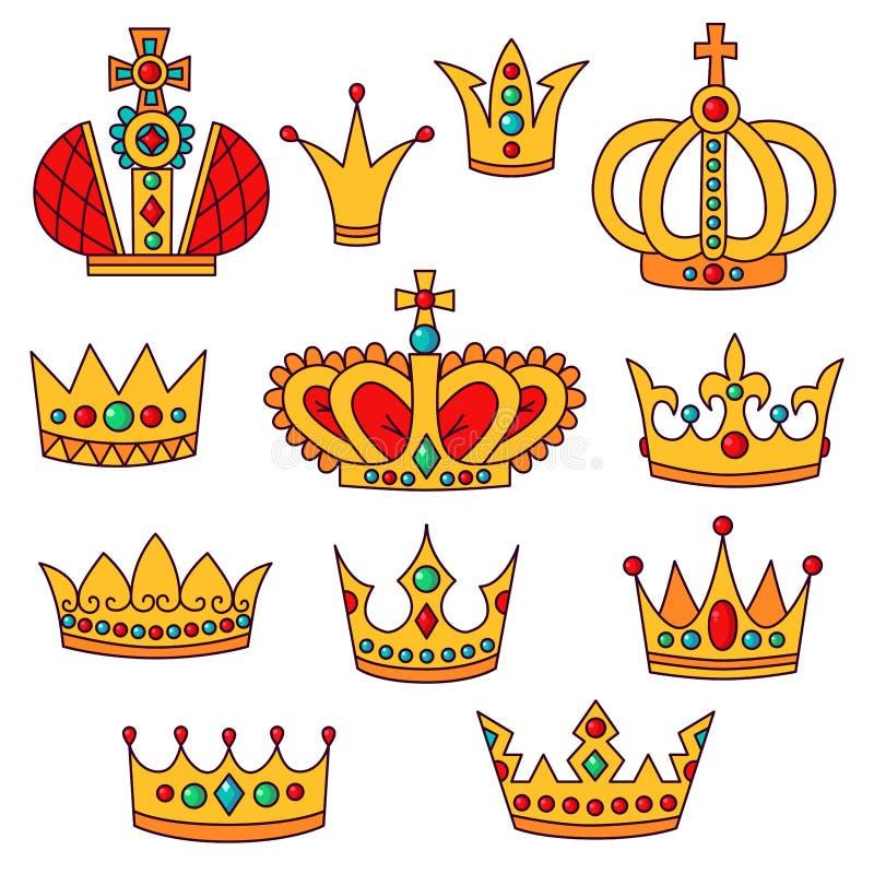Korony doodle ikon wektoru set ilustracji