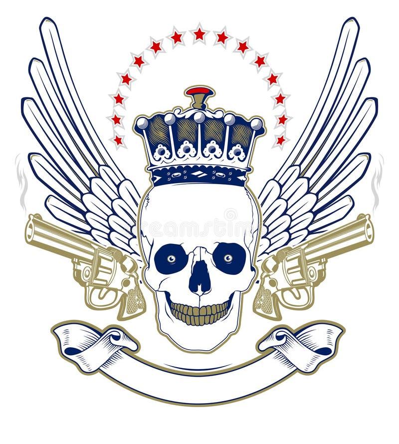 korony emblemata czaszka royalty ilustracja