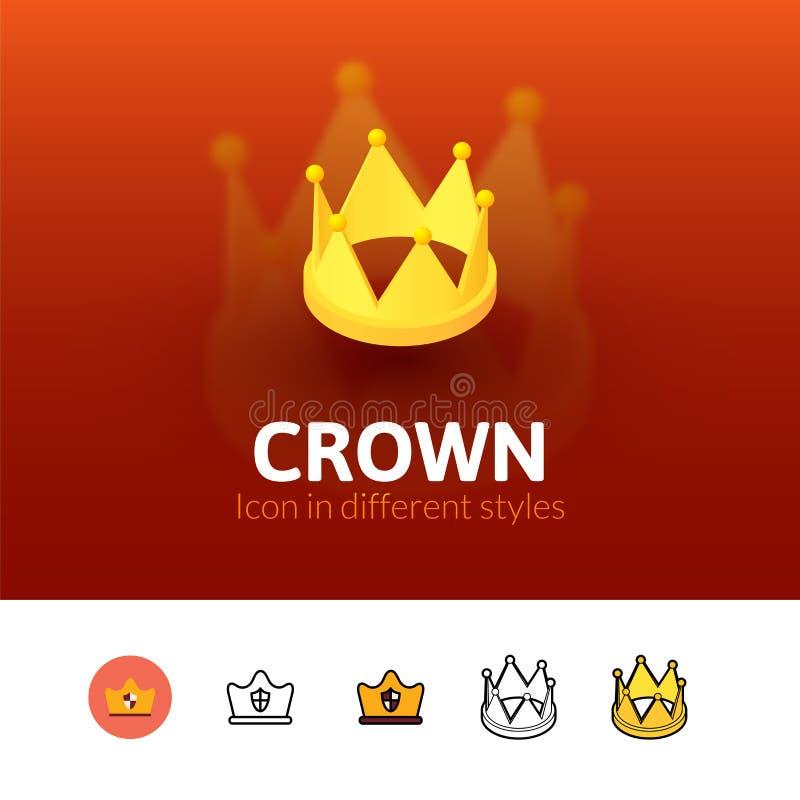 Korony ikona w różnym stylu royalty ilustracja