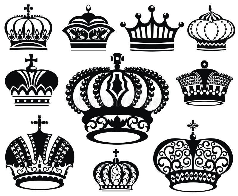 Korony kolekcja royalty ilustracja