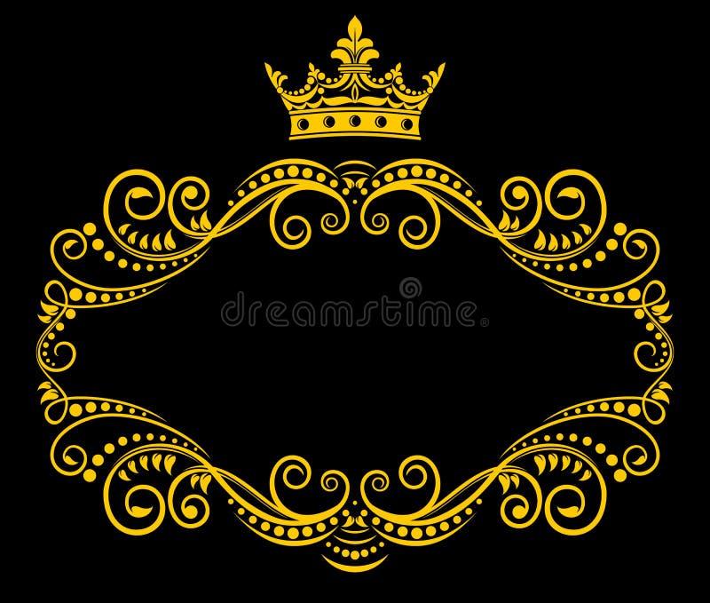 korony królewski ramowy retro ilustracji