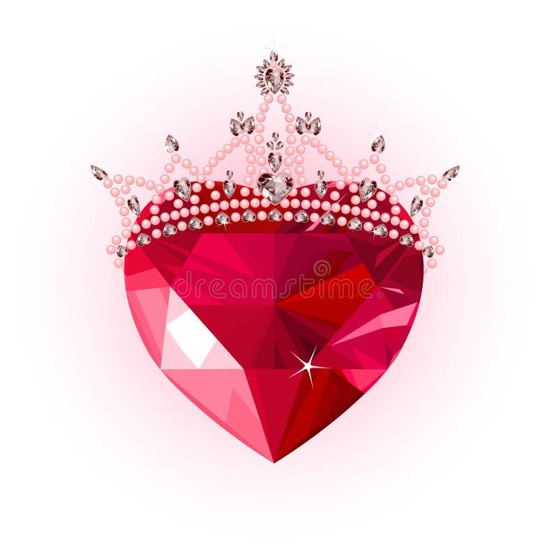 korony kryształu serce ilustracja wektor