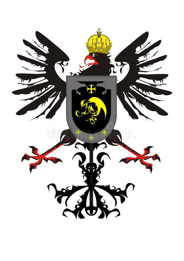 korony orła heraldyczna osłona ilustracja wektor