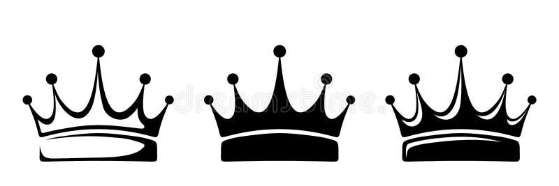 korony Wektorowe czarne sylwetki ilustracji