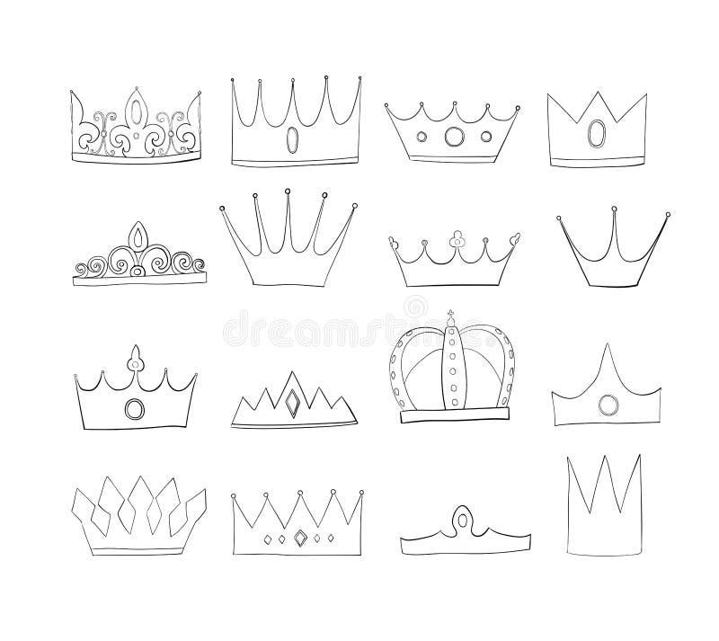 Korony z klejnotami i diamentami ustawiającymi Symbol władza Headpiece królewiątko Ikony oznaczania insygnia i sukces ilustracja wektor