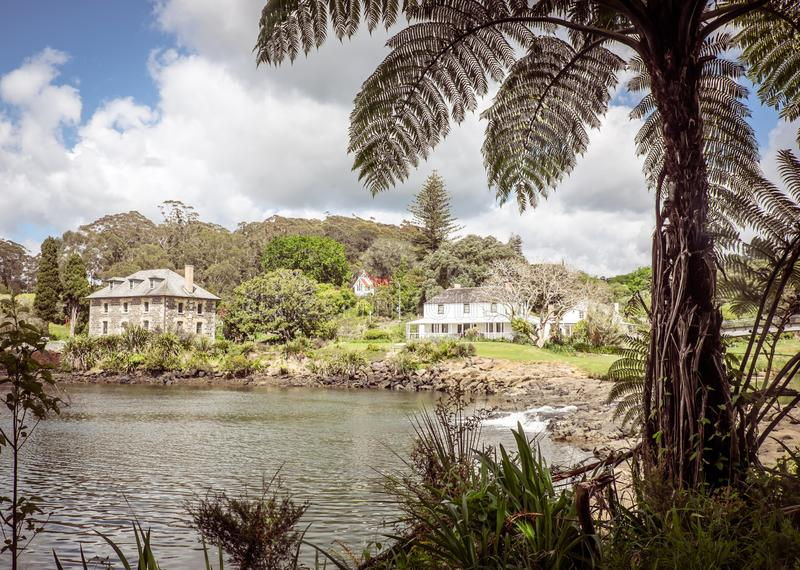 Kororipo Pa site in Kerikeri Basin with historic Stone Store, Mi. Ssion House, Kemp House, River and Inlet in Far North District, Northland, New Zealand, NZ royalty free stock image