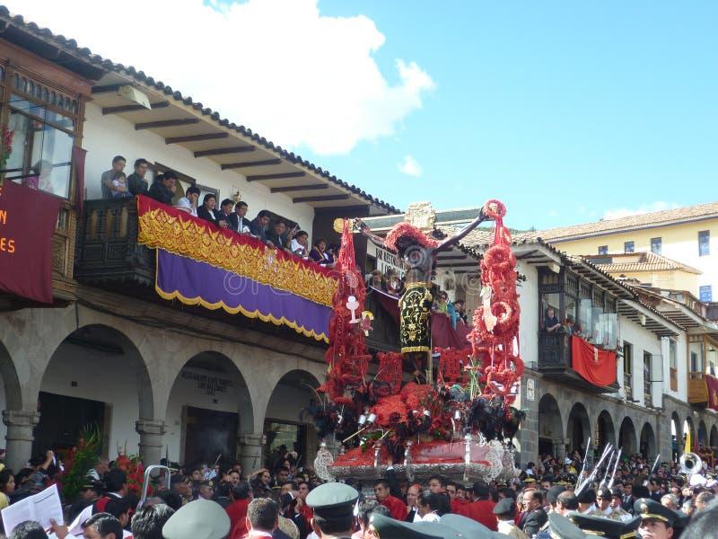 Korowód władyka drżenia w Cusco obraz royalty free