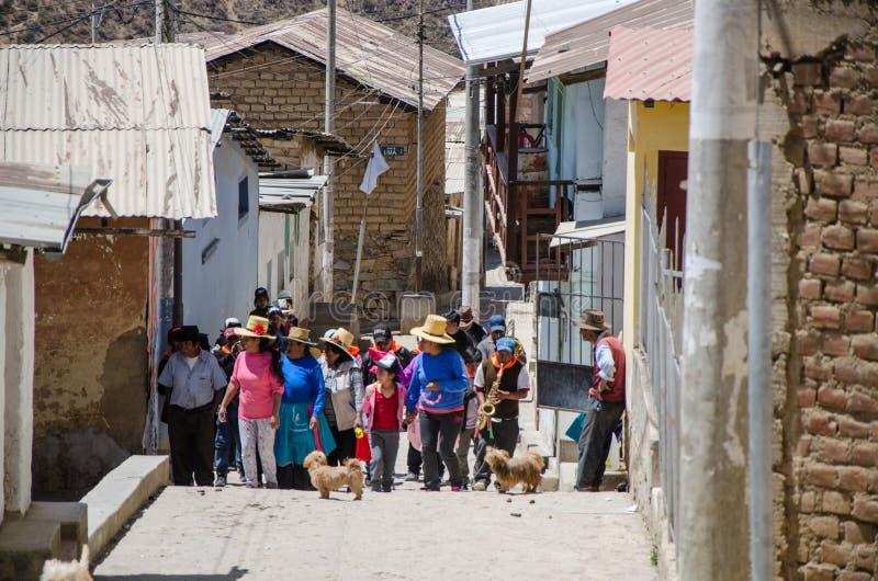 Korowód w miasteczku San Pedro De Castas obraz royalty free
