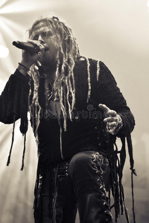 Korpillaani live in concert 2016 folk metal band. Korpiklaani is a folk metal band from Finland who were formerly known as Shaman royalty free stock images