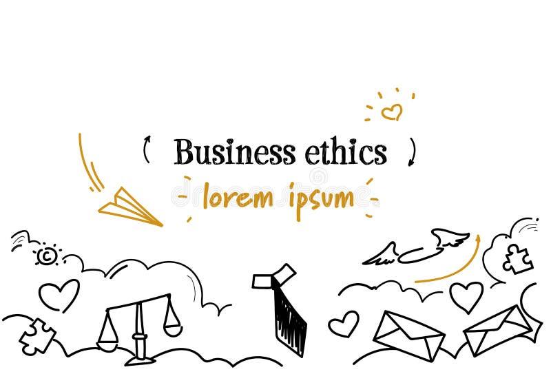 Korporacyjna biznesowych etyk pojęcia nakreślenia doodle kopii horyzontalna odosobniona przestrzeń royalty ilustracja