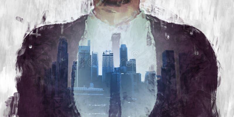 Korporacyjna ciemna strona miasto ilustracji