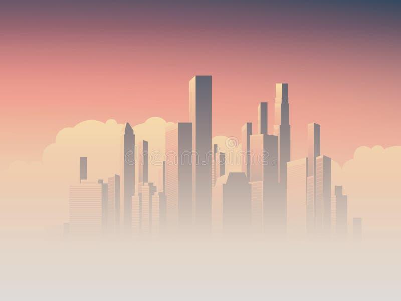 Korporacyjna linia horyzontu z wysokimi wzrostów drapaczami chmur w ranku wschodu słońca mgiełki, menchii i purpur nieba tle, Biz ilustracja wektor