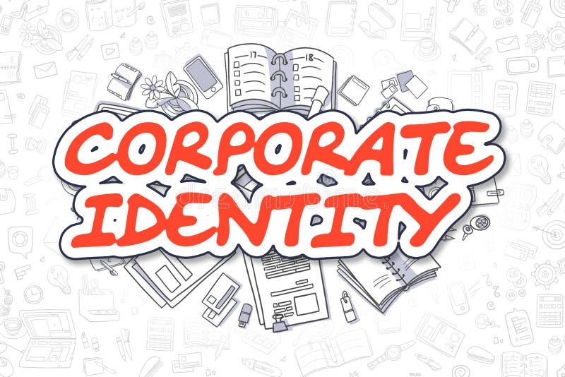 Korporacyjna tożsamość - Doodle Czerwony słowo pojęcia prowadzenia domu posiadanie klucza złoty sięgający niebo royalty ilustracja