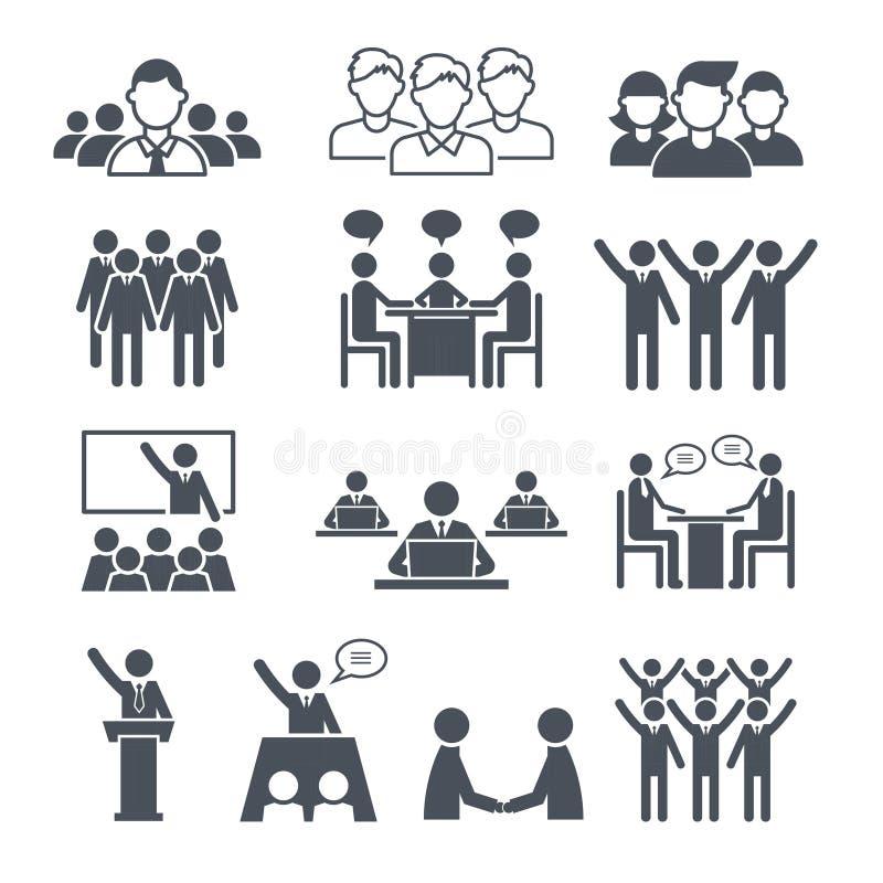 Korporacyjne drużynowe ikony Fachowi ludzie biznesowego networking grupy lub tłumu konferencyjni stażowi wektorowi symbole ilustracji
