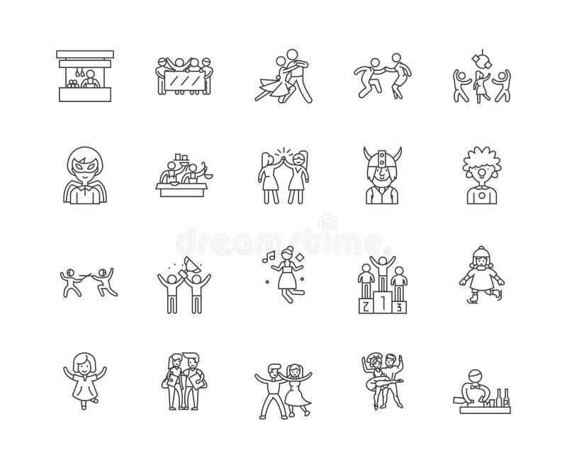 Korporacyjne rozrywki linii ikony, znaki, wektoru set, kontur ilustracji poj?cie royalty ilustracja