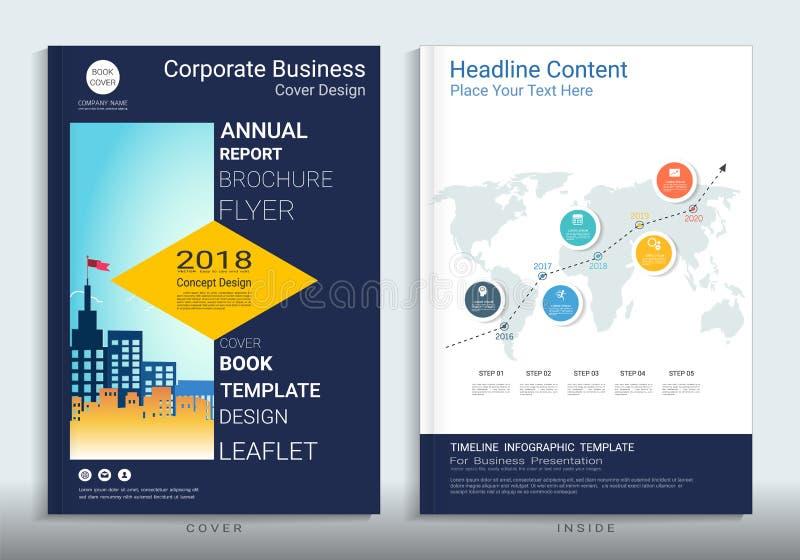 Korporacyjnego biznesu pokrywy książki projekta szablon z infographic ilustracji