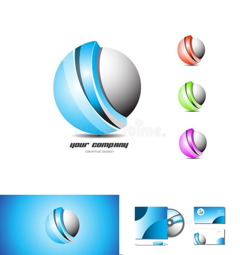 Korporacyjnego biznesu sfery 3d błękitny logo ilustracja wektor