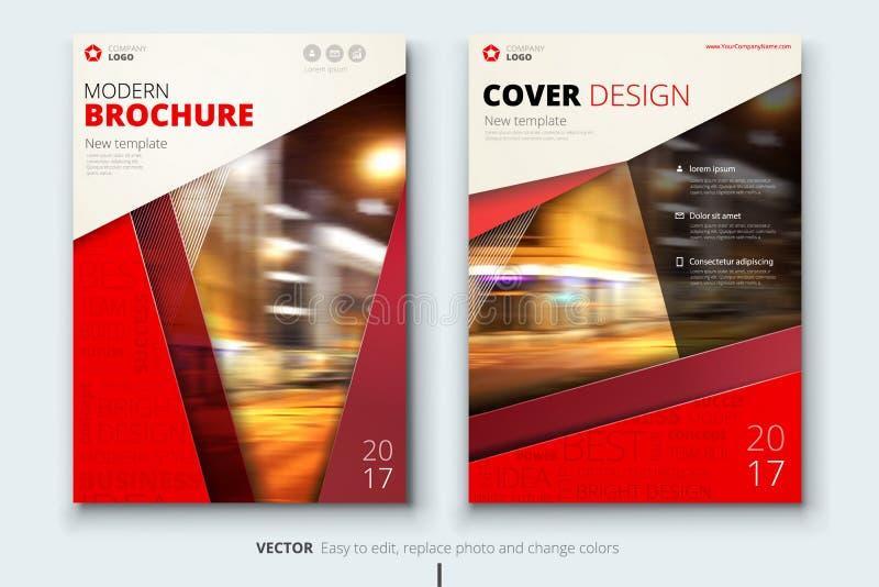 Korporacyjnego biznesu sprawozdania rocznego pokrywa, broszurka lub ulotka projekt, Ulotki prezentacja Katalog z Abstrakcjonistyc ilustracja wektor