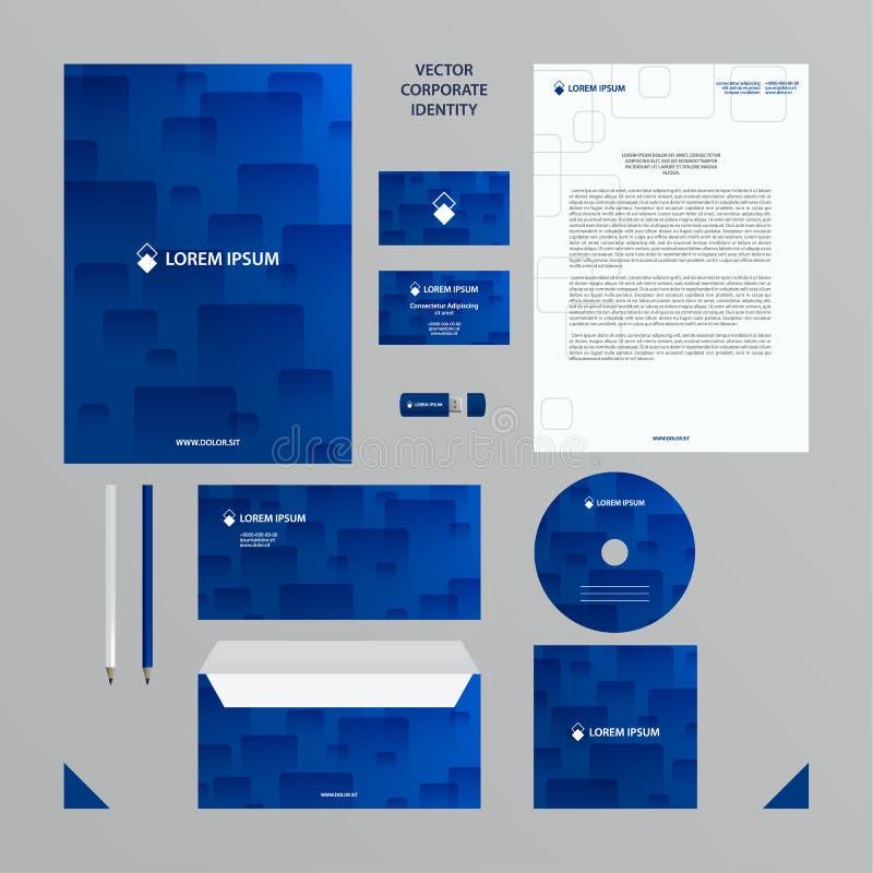 Korporacyjnej tożsamości biznesu szablon Firma stylu set w błękicie tonuje z przejrzystym płytka wzorem ilustracji