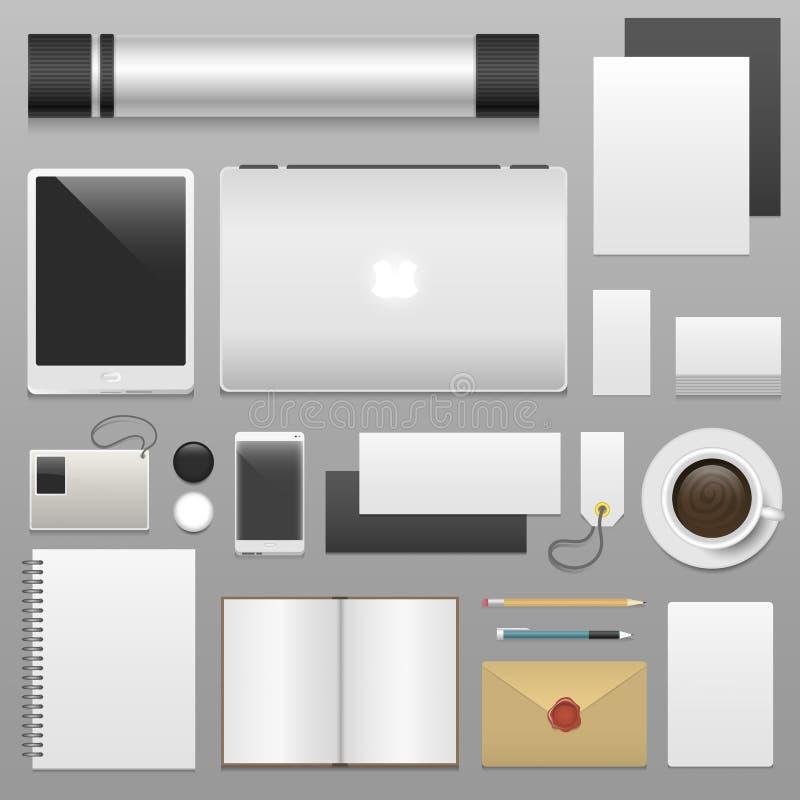 Korporacyjnej tożsamości szablonu materiały pustego ustalonego biznesowego mockup 3d odgórnego widoku wektoru realistyczna ilustr ilustracji