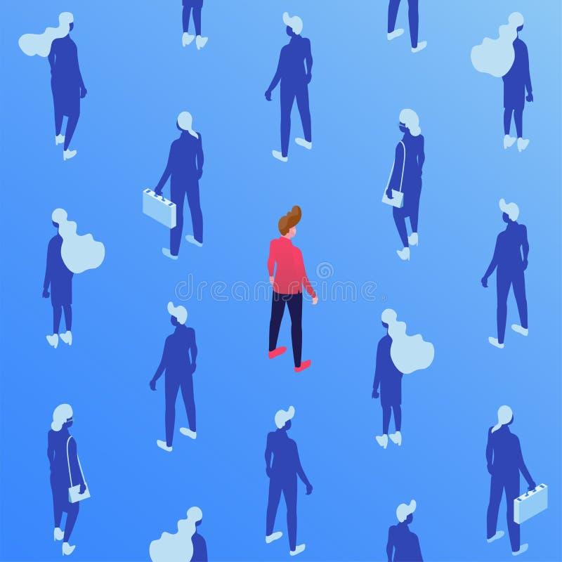 Korporacyjni pracownicy, kierownika isometric bezszwowy wzór Męscy i żeńscy pracownicy z skrzynkami, biznesmen i ilustracja wektor