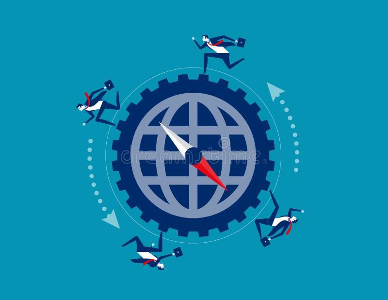 Korporacyjny biznes i strategia Poj?cie biznesowa wektorowa ilustracja Pracować, prędkość i bieg, Płaska postać z kreskówki ilustracji