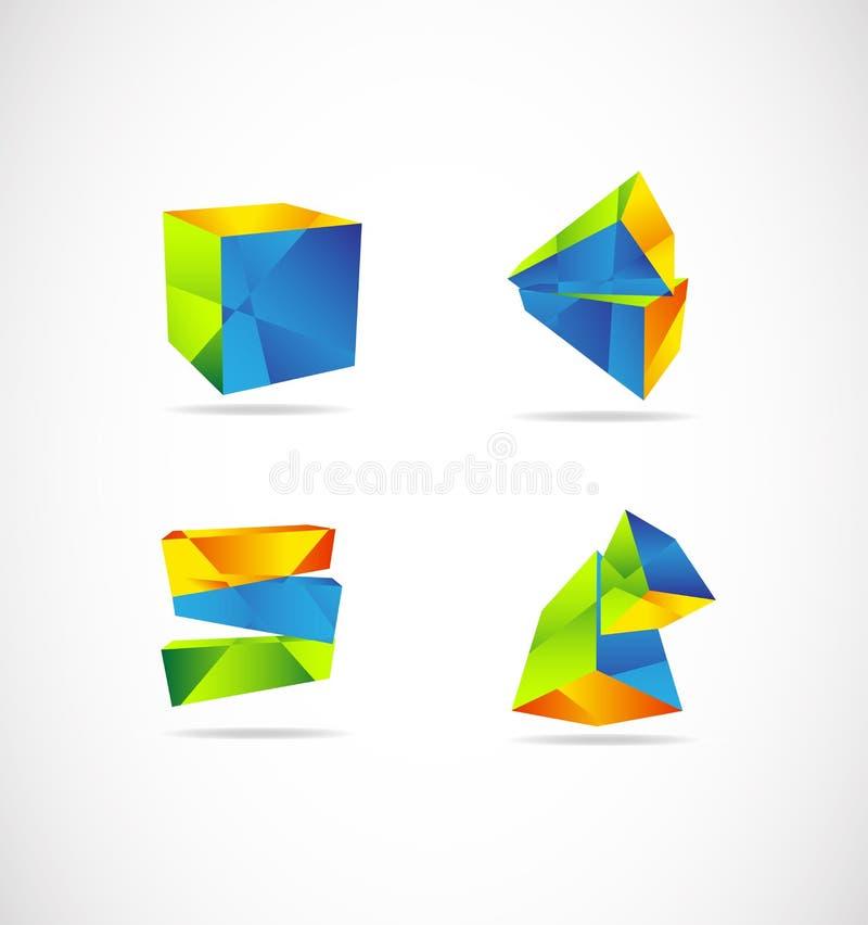Korporacyjny 3d logo geometryczny ilustracji