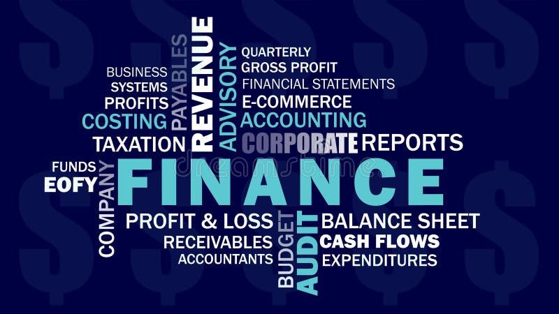 Korporacyjny finanse i księgowość odnosić sie słowa słowo chmurniejemy ilustracja wektor