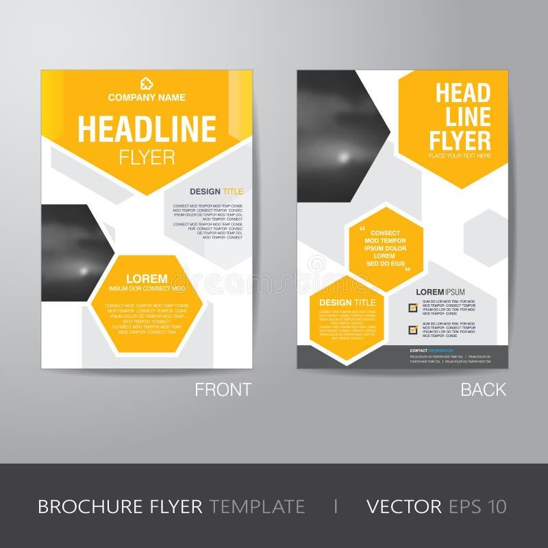 Korporacyjny heksagonalny broszurki ulotki projekta układu szablon w A4 royalty ilustracja