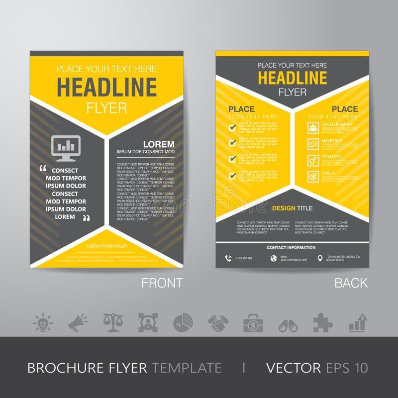 Korporacyjny heksagonalny broszurki ulotki projekta układu szablon w A4 ilustracji