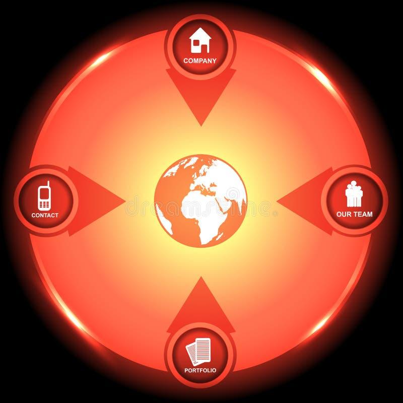 Korporacyjny kółkowy rozjarzony tło z kontaktowymi ikonami ilustracji