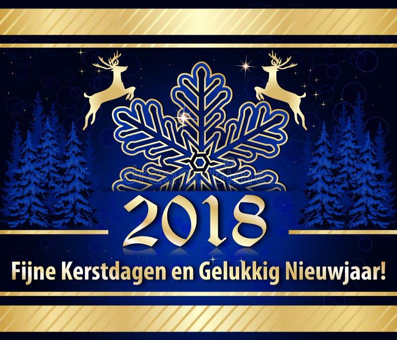 Korporacyjny kartka z pozdrowieniami dla nowego roku świętowania z tekstem pisać w holenderze ilustracji