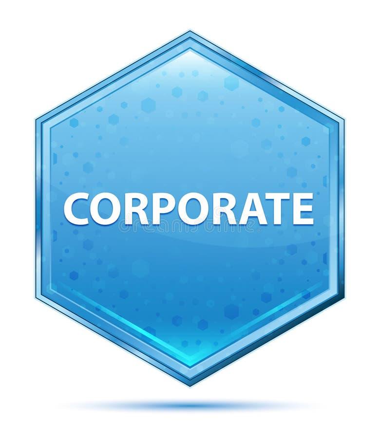 Korporacyjny krystaliczny błękitny sześciokąta guzik royalty ilustracja