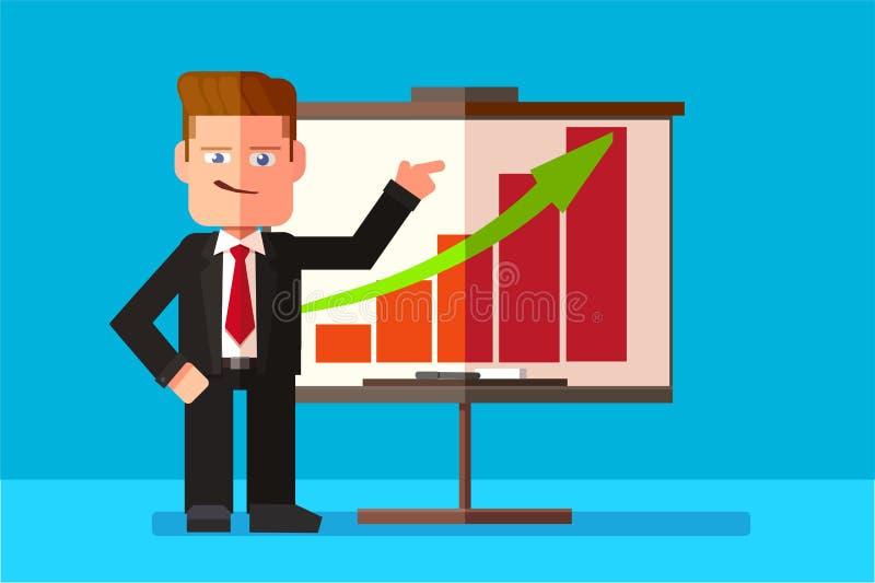 Korporacyjny mężczyzna przedstawia jego biznesowego raport przez infographics ilustracji