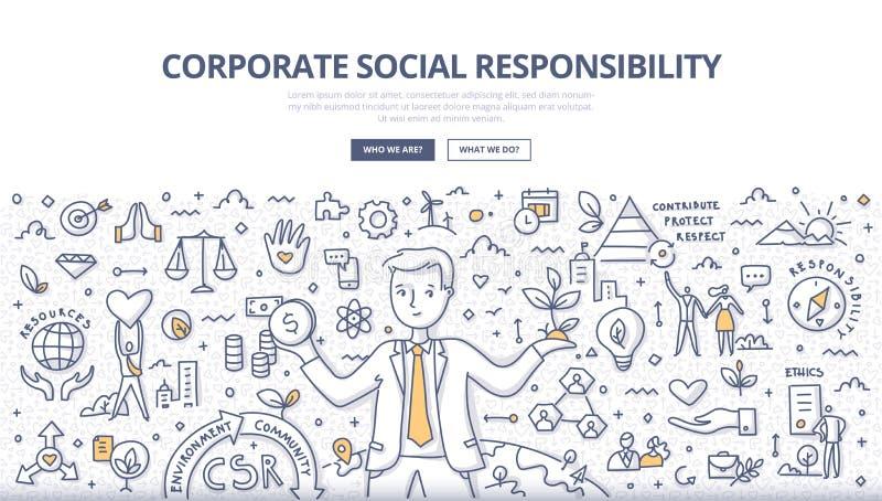 Korporacyjny odpowiedzialności społecznej Doodle pojęcie royalty ilustracja