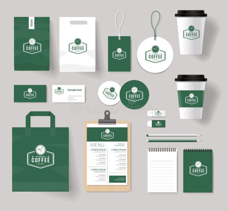 Korporacyjny oznakuje tożsamość egzamin próbny w górę szablonu dla sklep z kawą royalty ilustracja