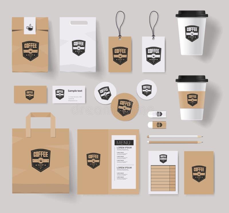 Korporacyjny oznakuje tożsamość egzamin próbny w górę szablonu dla sklep z kawą ilustracja wektor