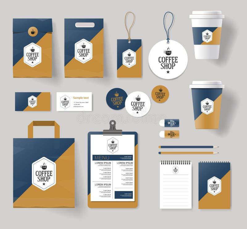 Korporacyjny oznakuje tożsamość egzamin próbny w górę szablonu dla sklep z kawą i restauraci ilustracja wektor