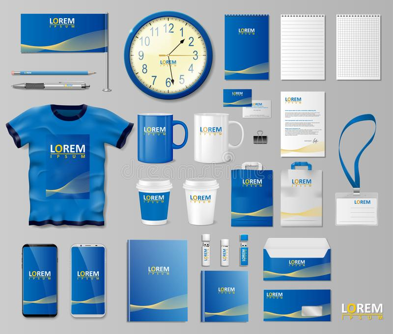 Korporacyjny Oznakuje tożsamość szablonu projekt Materiały mockup dla sklepu z nowożytną błękitną strukturą długopis biznesowej s ilustracji