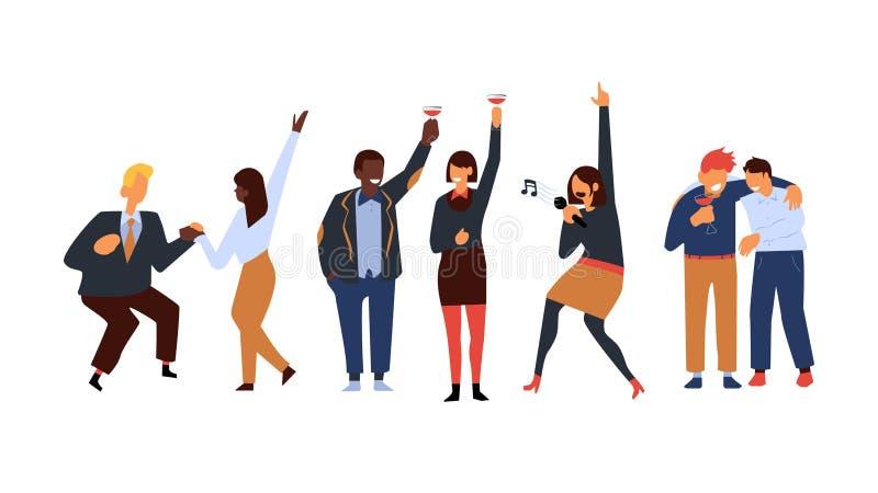 Korporacyjny partyjny wektorowy ilustracyjny ustawiający z ludzie biznesu tanczy, śpiewa i pije, koktajle royalty ilustracja