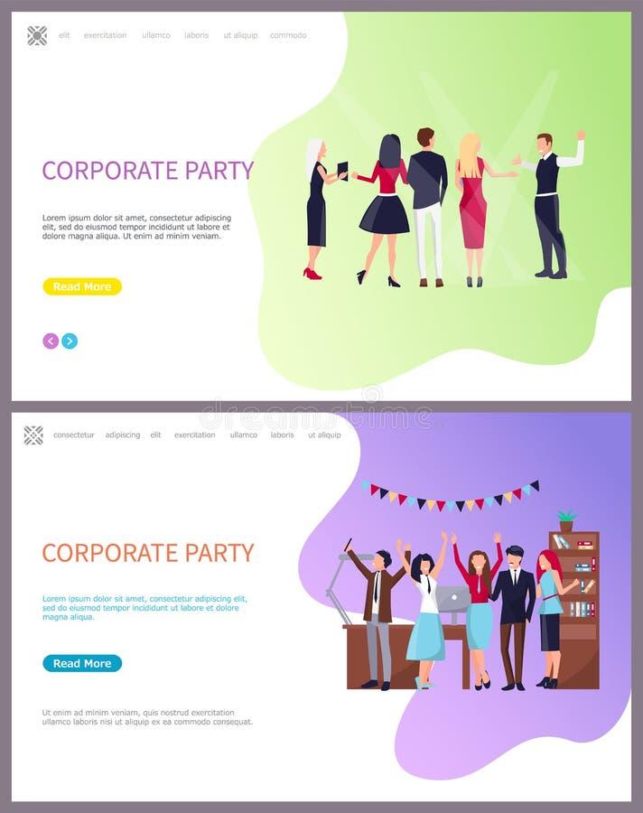 Korporacyjny przyjęcie, Coworkers Świętuje wakacje ilustracji